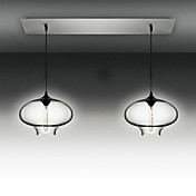 2 - Light Modern Glass Pendant Lights in Black Bubble Design