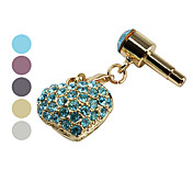 Heart Shaped Diamond Design Anti-Dust Earphone Jack Plug for iPad and iPhone (Assorted Colors)