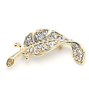 Gorgeous Alloy With Rhinestone Leaf Brooch