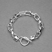 Beautiful Silver Plated Long Square Rings Unisex Bracelet