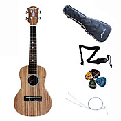 Hanknn - Zebrano Concert Ukulele with Gig Bag/String/Picks/Strap
