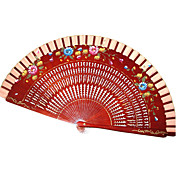 Red Wooden Hand Fan - Set Of 4