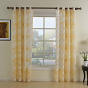 (Two Panels) Lovely Yellow Floral Sheer Curtains