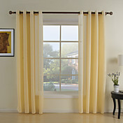 (Two Panels) Polyester Yellow Geometic Sheer Curtains