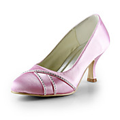 Beautiful Satin Low Heel Closed Toe With Rhinestone Wedding Party Women's Shoes