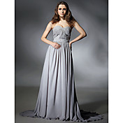 A-line Sweetheart Sweep/Brush Train Chiffon Evening Dress inspired by Selena Gomez at Emmy Awards