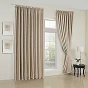 (Two Panels) Classic Embossed Beige Room Darkening Thermal Curtains