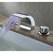 LED Waterfall Contemporary Widespread Bathroom Sink Faucet (Chrome Finish)