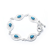 Elegant Fashion Jewelry Five Pattern Imitation Gem Stone Silver Plate Bracelet