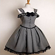 Sin mangas hasta la rodilla de algodn gris Gothic Lolita vestido