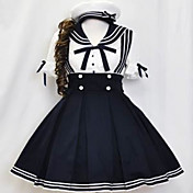 Short Sleeve Knee-length Ink Blue and White Cotton Sailor Lolita Dress