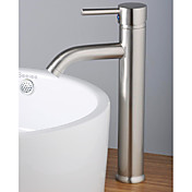 Contemporary Single Handle  Bathroom Sink Faucet Nickel Brushed