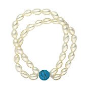 Gorgeous White Pearl With Turquoise Women's Bracelet
