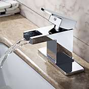 Sprinkle® by Lightinthebox - Contemporary Solid Brass Waterfall Bathroom Sink Faucet (Chrome Finish)