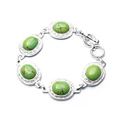 Elegant Fashion Jewelry Five Big Oval Imitation Gem Stone Silver Plate Bracelet (More Colors)