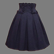 Knee-length Ink Blue Cotton Classic Lolita Skirt