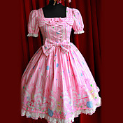 Short Sleeve Knee-length Pink Cotton Bandage  Doll's Lolita Dress