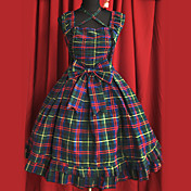 Sleeveless Knee-length Dark Green Cotton Bow Casual Lolita Dress