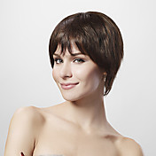 Mono Top 30% Human Hair Brown Short Hair Wig