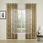 (Two Panels) Solid Grey / Yellow Casual Sheer Curtains