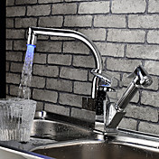 Contemporary Color Changing LED Pull Out Kitchen Faucet-Chrome Finish