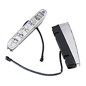 2 x 5 LED High Power 5W 12V 24V Hvit kjørelys