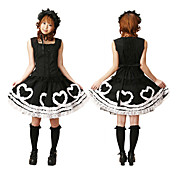 Mouwloze knie-lengte Black and White Cotton Casual Lolita Outfit