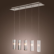 Stainless Steel 5-Light Mini Bar Pendant Light with K9 Crystal ball Drop