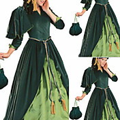 Long Sleeve Floor-length Dark Green Cotton and Velvet Aristocrat Lolita Dress