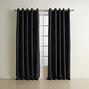 (Two Panels) Traditional Black Solid Embossed Blackout Curtains