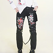 Leopard Pattern Black Cotton Punk Lolita Pants
