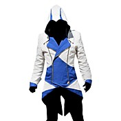 traje cosplay inspirado Assassins Creed III connor azul e jaqueta branca