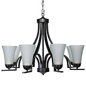 60W E27 8-light Minimalist Iron Chandelier with Glass Shades