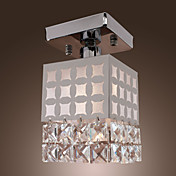 1 - Light Crystal Ceiling Light in Cubic Shade