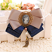 Handmade Coffee Blue Satin 10.5cm Bow Aristocrat Lolita Headdress