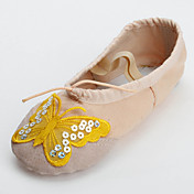 Handmade Canvas With Butterfly Dance Shoes Split-sole Ballet Slipper For Kids