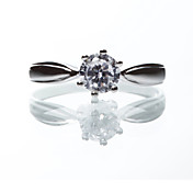 Elegant 925 Sterling Silver Platinum Plated Cubic Zirconia Ring