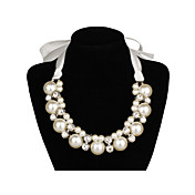 Elegant Satin / Pearl With Rhinestone Women's Necklace