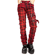 Checkered Polished Edges Cotton Punk Lolita Pants