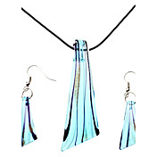Forme de lame Coloured Glaze collier boucles d'oreilles ensemble de bijoux