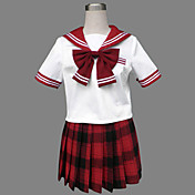Cute Girl Red Check modello Jazz Lana Sailor School Uniform