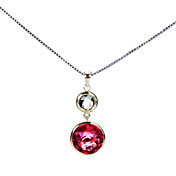 Gorgeous 925 Silver With Rhinestone Plating 23K Gold Women's Necklace