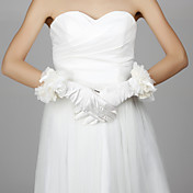 Elastic Satin Fingertips Wrist Length Wedding/Evening Gloves With Flowers