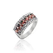 Elegant Sterling Silver Garnet Ring(0.17 carat)(3*4mm)