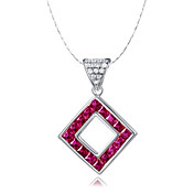Elegant 925 Silver With Ruby Women's Necklace