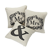 Conjunto de 3 Tampa Amor Casais Pillow algodo / linho decorativa