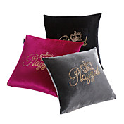 Set of 3 Golden Crown Velvet Decorative Pillow Cover