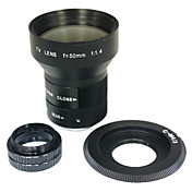 CCTV Lens 50mm f/1.4 TV C Mount Adapter & Micro 4/3 M4/3 M43 Macro Ring New LF80