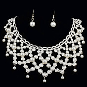 Elegant Pearls With Lace Women's Jewelry Set Including Necklace,Earrings