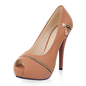 Gorgeous Leatherette Stiletto Heel Peep Toe Med Zipper Party / Evening Shoes (Flere farver)